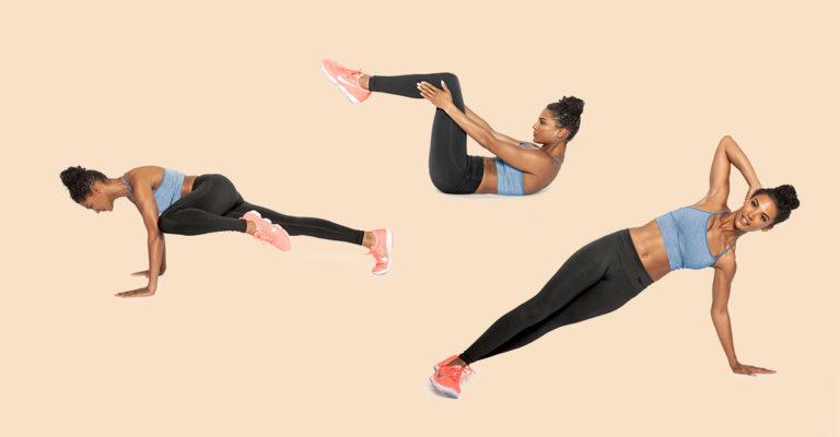 O fata care face trei tipuri de exercitii abdominale.